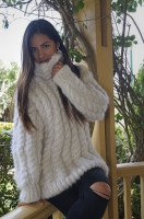 Alpaca rollneck sweater. Fluffy soft Suri-Alpaca with insulating properties. Undyed, natural yarn.